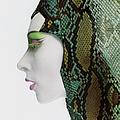 Model In Snakeskin Hood by Bert Stern