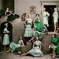 Models In Various Green Dresses by Frances Mclaughlin-Gill