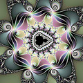 Modern Abstract Fractal Art Metallic Colors Square Format by Matthias Hauser