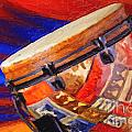 Modern Djembe African Drum Painting In Color 3337.02 by M K Miller