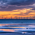 Modern Ocean Windmills At Sunset Lowtide by Dennis Dame
