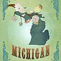 Modern Vintage Michigan State Map  by Joy House Studio