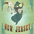 Modern Vintage New Jersey State Map  by Joy House Studio