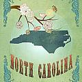 Modern Vintage North Carolina State Map  by Joy House Studio