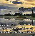 Molas Lake Sunrise With Scripture by Priscilla Burgers