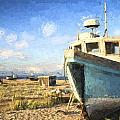 Monet Style Digital Painting Abandoned Fishing Boat On Beach Landscape At Sunset by Matthew Gibson