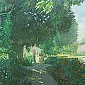 Monets Garden Oil On Board by William Ireland