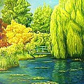 Monets Lily Pond In Green by Gary  Hernandez