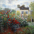 Monet's The Artist's Garden In Argenteuil  -- A Corner Of The Garden With Dahlias by Cora Wandel