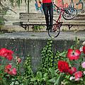 Monika Hinz Doing Elegant Bmx Flatland Trick by Matthias Hauser