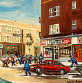 Monkland Street Hockey Game Montreal Urban Scene by Carole Spandau