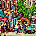 Monkland Tavern Corner Old Orchard Montreal Street Scene Painting by Carole Spandau