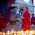 Monks At Morning Near Stupa Boudhanath Doing Kora Nepal Kathmandu Muktianth Yatra 2013 Artmif.lv by Raimond Klavins