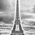 Monochrome Eiffel Tower Fractal by Pati Photography