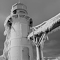 Monochrome Frozen Lighthouse Grand Haven Michigan by Dan Sproul
