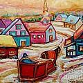 Mont St.hilaire Going Towards The Village Quebec Winter Landscape Paintings Carole Spandau by Carole Spandau