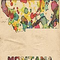 Montana Map Vintage Watercolor by Florian Rodarte