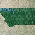 Montana Word Art State Map On Canvas by Design Turnpike