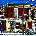 Montreal Art Hockey Paintings Chez Bert Depanneur The Pointe Verdun City Scene Carole Spandau  by Carole Spandau
