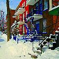 Montreal Art Streets Of Verdun Winter Scenes Winding Staircases Snowscenes Carole Spandau by Carole Spandau