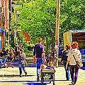 Montreal Art Summer Cafe Scene Rue Laurier Family Day Wagon Ride City Scene Art By Carole Spandau by Carole Spandau