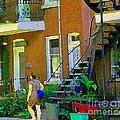 Montreal Art Summer Stroll By Blue Winding Staircase Verdun Homes Balcony Scene Carole Spandau by Carole Spandau