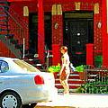 Montreal Art Summer Stroll On A Sunny Morning Colorful Street Verdun City Scene Carole Spandau by Carole Spandau