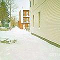 Montreal Art Urban Winter City Scene Painting Verdun Laneway After  Heavy December Snowfall by Carole Spandau