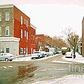 Montreal Art Winter Street Scene Painting The Point Psc Rowhouses In January Snow Cspandau by Carole Spandau