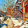 Montreal Art Winterwalk In Montreal Street Scene Painting by Carole Spandau