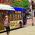 Montreal Bus Scenes Catching The 97 Bus Pontiac Corner Mont Royal Urban Montreal Art Carole Spandau by Carole Spandau