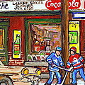 Montreal Hockey Paintings At The Corner Depanneur - Piche's Grocery Goosevillage Psc Griffintown  by Carole Spandau