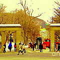 Montreal Memories Mcgill Students On Campus Roddick Gates Montreal Collectible Art Prints C Spandau by Carole Spandau
