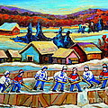 Montreal Memories Rink Hockey In The Country Hockey Our National Pastime Carole Spandau Paintings by Carole Spandau