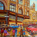 Montreal Memories-streetcars-morgan's Department Store At St.catherine And Union by Carole Spandau