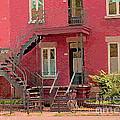 Montreal Memories The Old Neighborhood Timeless Triplex With Spiral Staircase City Scene C Spandau  by Carole Spandau