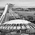 Montreal Olympic Stadium And Olympic Park-home To Biodome And Velodrome-montreal In Black And White by Carole Spandau