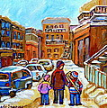 Montreal Paintings Winter Walk Past The Old School Snowy Day City Scene Carole Spandau by Carole Spandau