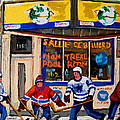 Montreal Pool Room City Scene With Hockey by Carole Spandau