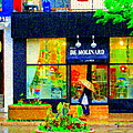 Montreal Rainy Day  Window Shopping Girl With Paisley Umbrella Spa Molinard Laurier  Carole Spandau by Carole Spandau