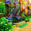 Montreal Staircases Verdun Stairs Duplex Flower Gardens Summer City Scenes Carole Spandau by Carole Spandau