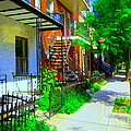 Montreal Stairs Shady Streets Winding Staircases In Balconville Art Of Verdun Scenes Carole Spandau by Carole Spandau