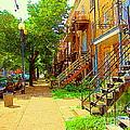 Montreal Stairs Winding Staircases And Sunny Tree Lined Sidewalks Verdun Scenes Carole Spandau  by Carole Spandau