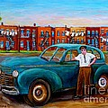 Montreal Taxi Driver 1940 Cab Vintage Car Montreal Memories Row Houses City Scenes Carole Spandau by Carole Spandau