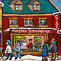 Montreal Winter Hockey At Moishes by Carole Spandau