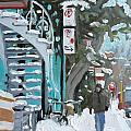 Montreal Winter Scene Mile End by Darlene Young