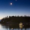 Moon And Venus Over Five Islands by Benjamin Williamson