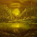 Moon Lake Reflection-original Sold- Buy Giclee Print Nr 33 Of Limited Edition Of 40 Prints  by Eddie Michael Beck