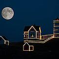 Moon Over Cape Neddick by Guy Whiteley