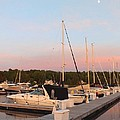 Moon Over Egg Harbor Marina by Deb Schense